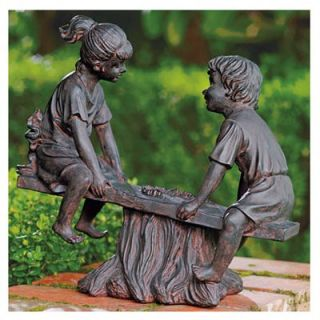 Four Seasons Courtyard Boy & Girl Seesaw Statue, Resin With Bronze Finish, 14 In.: Model# 33707