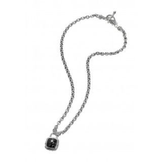 Scott Kay Sterling Silver Diamond Onyx Chain Necklace N1211SPAODM16