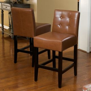 Christopher Knight Home Macbeth Espresso Brown Leather Counter Stools