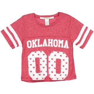 Oklahoma Sooners chicka d Girls Youth Boxy Cropped Top   Crimson