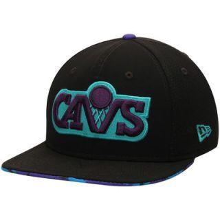 Cleveland Cavaliers New Era Aqua Hook Binded Original Fit 9FIFTY Adjustable Hat   Black