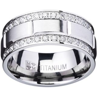 Titanium Mens Ring with Double Row Cubic Zirconia (9mm)   15851857