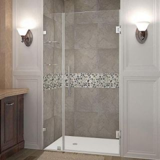 Aston Nautis GS 42 in. x 72 in. Frameless Hinged Shower Door in Stainless Steel with Glass Shelves SDR990 SS 42 10