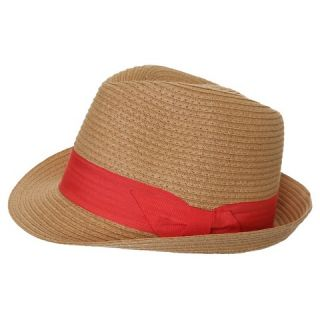 Womens Trilby Hat with Grosgrain Band and Bow   Coral Combo