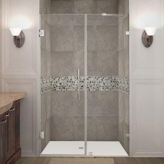 Aston Nautis 47 in. x 72 in. Frameless Hinged Shower Door in Stainless Steel with Clear Glass SDR985 SS 47 10