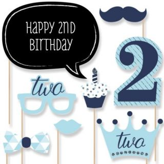 Two Much Fun   Boy   2nd Birthday Party Photo Booth Props Kit   20 Count