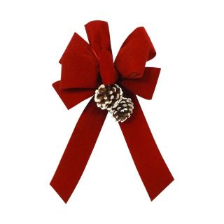 Holiday Living 11 in W Red Solid Bow