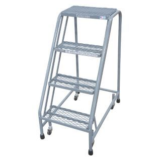 """COTTERMAN 4 Step Rolling Ladder, Perforated Step Tread, 40"""" Overall Height, 450 lb. Load Capacity   45CH97