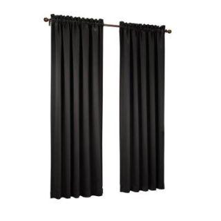 Sun Zero Black Gregory Room Darkening Pole Top Curtain Panel, 54 in. W x 95 in. L 43196
