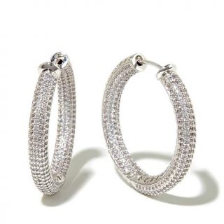 Jewels by Jen 6ctw CZ Inside Outside Medium Plunger Back Hoop Earrings   8130539