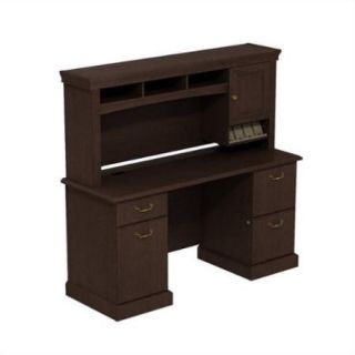 2 Pc Wooden Double Pedestal Desk Set