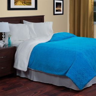 Lavish Home 61 81 K Geometric Etched Blanket with Sherpa