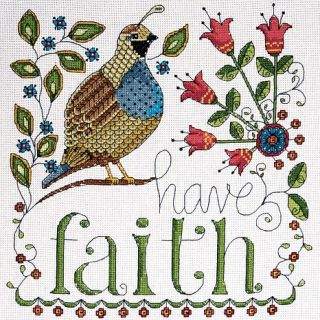 "Heartfelt Have Faith 10"" x 10"" Counted Cross Stitch Kit   14 Count   7269646"