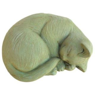 Cast Stone Small Curled Cat Garden Statue Weathered Bronze GNCCRLS WB