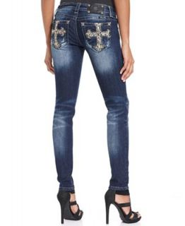 Miss Me Skinny Leg Sequined Crosses Jeans, Dark Wash   Jeans   Women