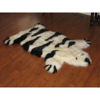 Bowron Sheepskin Designer Bear Animal Black/Ivory Stripe Area Rug