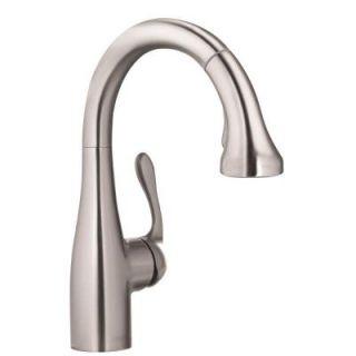 Hansgrohe Allegro E Single Handle Pull Down Sprayer Kitchen Faucet in Steel Optik 04297800