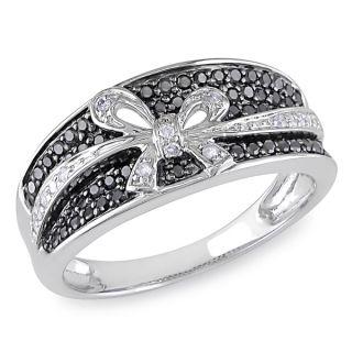 Miadora 10k White Gold 1/3ct TDW Black and White Diamond Bow Ring (H I