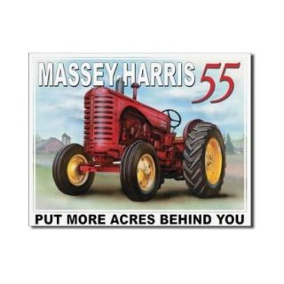 Massey Harris 55 Tractor Put More Acres Behind You Retro Vintage Tin Sign