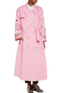 Floral embroidered woven cotton trench coat