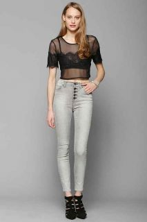 BDG Twig High Rise Button Fly Jean   Grey Eclipse