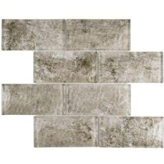 Merola Tile Igloo Convex Subway Smoke 11 5/8 in. x 11 7/8 in. x 12 mm Glass Mosaic Tile WITICSSK