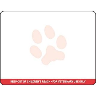 Veterinary Thermal Prescription Labels, Dymo Compatible, Red Warning Bar & Logo, 2.75 x 2.125 inch