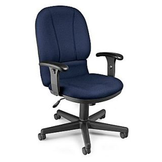 OFM 640 237 Posture Fabric Mid Back Task Chair with Adjustable Arms, Navy