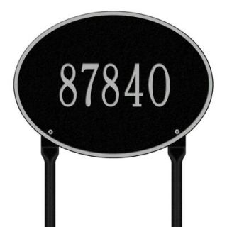 Whitehall Products Hawthorne Standard Oval Black/Silver Lawn 1 Line Address Plaque 2924BS