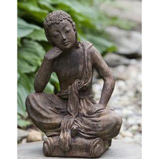 Campania International Small Seated Buddha Cast Stone Garden Statue   Garden Statues