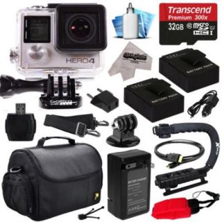 GoPro HERO4 Hero 4 Black Edition 4K Action Camera Camcorder with 32GB Beginner Accessories Kit with MicroSD Card, 2x Batteries, Charger, Large Case, Grip, HDMI, Card Reader, Cleaning Kit (CHDHX 401)