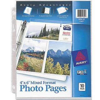Avery Photo Pages for Six 4 x 6 Mixed Format Photos 13401, 3 Hole Punched, 10/Pack