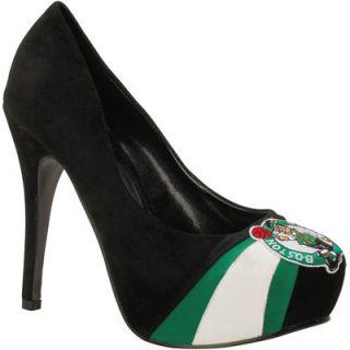 Boston Celtics Womens Suede Pumps   Black