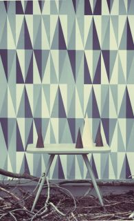 Spear Wallpaper   1 panel Grey, dark Grey & off white by Ferm Living