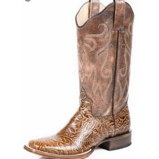 Roper Western Boots Womens Saddle Leather Tan 09 021 7022 1132 TA