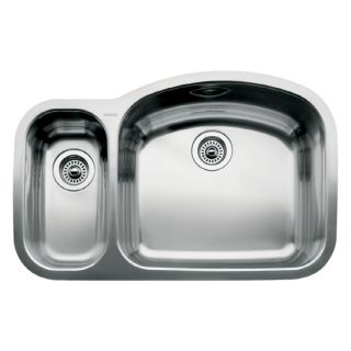 BLANCO Wave 20.87 in x 32.09 in Stainless Steel Double Basin Undermount Residential Kitchen Sink