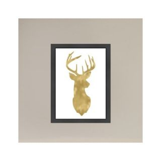 Americanflat Deer Head Right Face Gold on White Framed Painting Print