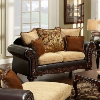 Furniture of America Lelicester Fabric and Leatherette Loveseat   Tan / Espresso   Sofas & Loveseats
