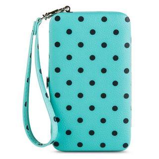 Womens Polka Dot Cell Phone Case Wallet   Blue