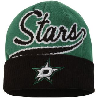 Dallas Stars Reebok Face Off Jacquard Cuffed Knit Hat   Kelly Green/Black