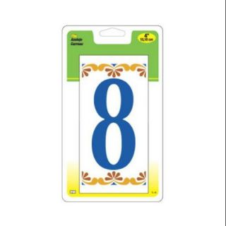 "Hy Ko Prod TL 40/8 House Address Number ""8"", 4 In. On Decorative Ceramic 3 x 6 In. Tile"