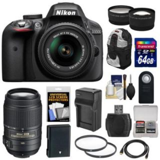 Nikon D3300 Digital SLR Camera & 18 55mm G VR DX II AF S Zoom Lens (Grey) with 55 300mm VR Lens + 64GB Card + Backpack + Battery & Charger + Tele/Wide Lens Kit