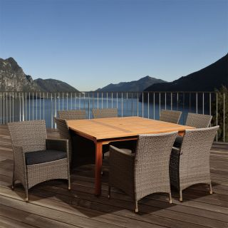 International Home Miami BT426 8LIBKD GR Normand 9 Piece Eucalyptus Wicker Square Patio Dining Set with Grey Cushions