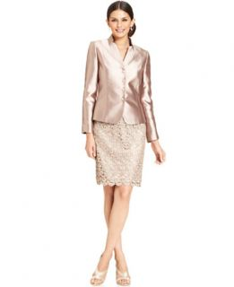Tahari by ASL Stand Collar Satin & Lace Skirt Suit   Wear to Work