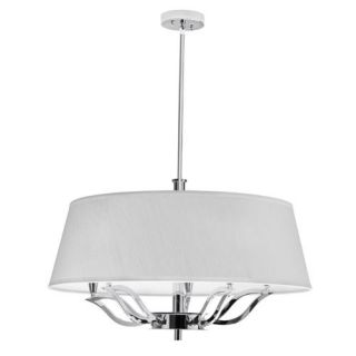 Dainolite LOT 265C PC Lotus 5 Light Chandelier in Polished Chrome with Ivory Shade