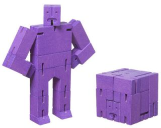 Cubebot Micro Toy   Articulated wooden robot or cube   H 10,80 cm Purple by Areaware   Pop Corn