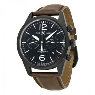 Bell and Ross Black Dial Chronograph Brown Leather Automatic Mens