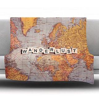 KESS InHouse Wanderlust Map by Sylvia Cook Fleece Throw Blanket; 90 H x 90 W x 1 D