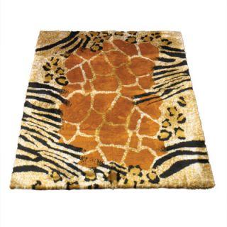 Walk On Me Animal Black/Brown Safari Print Area Rug