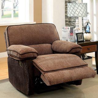 Furniture of America Hazel Mocha Dark Brown Two tone Chenille Fabric